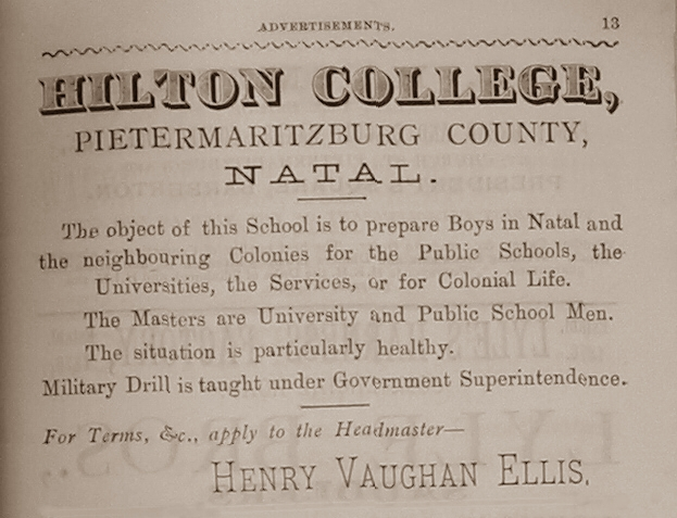 Hilton College 1887 advert copy