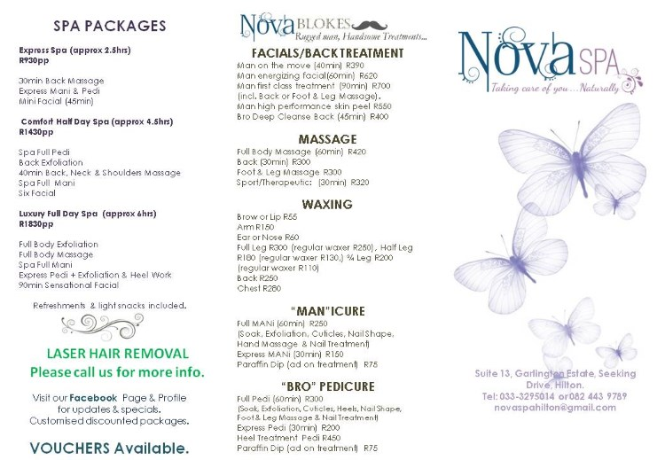 Nova Spa Price List Page 2 2017