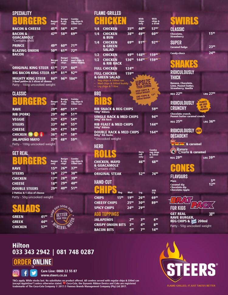 Hilton Food Menu