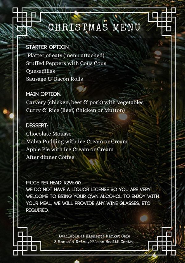 elements christmas menu