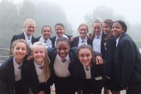 Form 2 St Annes girls looking smart in their suits after their first chapel service