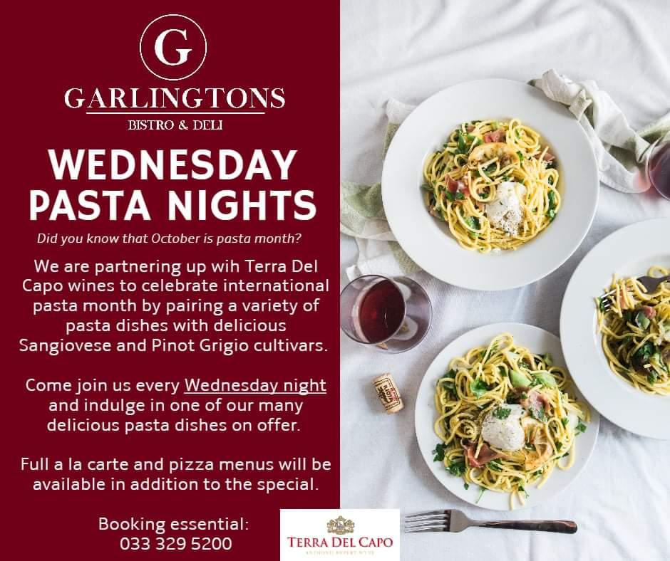 oct pasta at garlingtons on wednesday